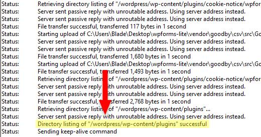 directory listing successful in filezilla