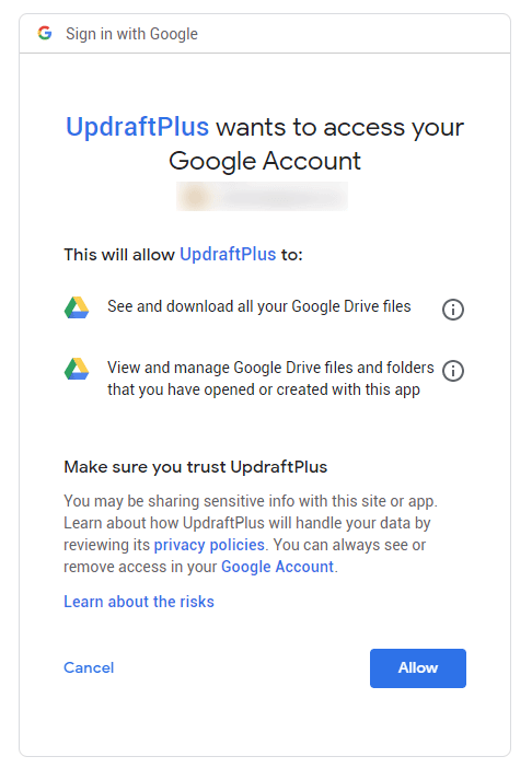 allows updraftplus access to google drive