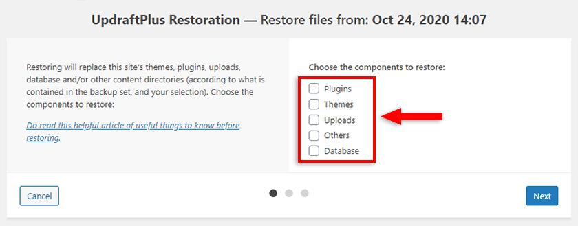 choose restore components updraftplus