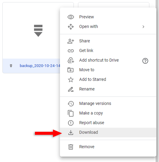 download wordpress backup file from google drive