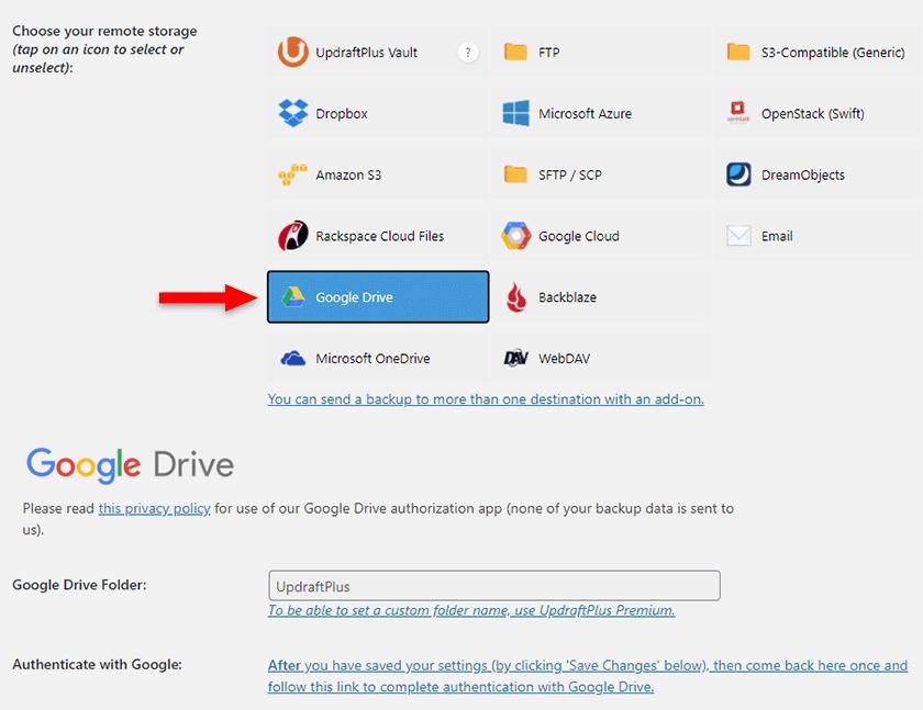google drive updraftplus
