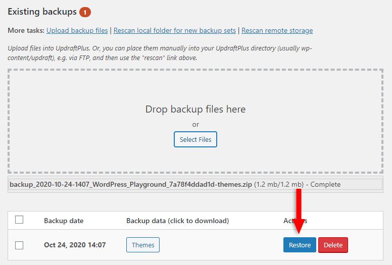 restore uploaded wordpress files in updraftplus