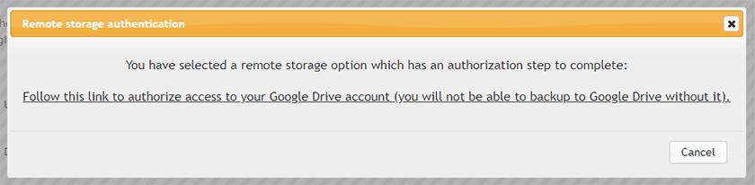 updraftplus google drive remote storage authentication