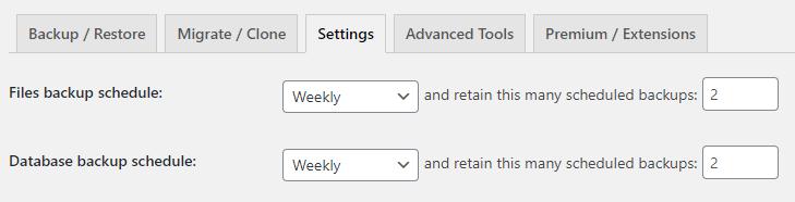 scheduled wordpress backups with updraftplus