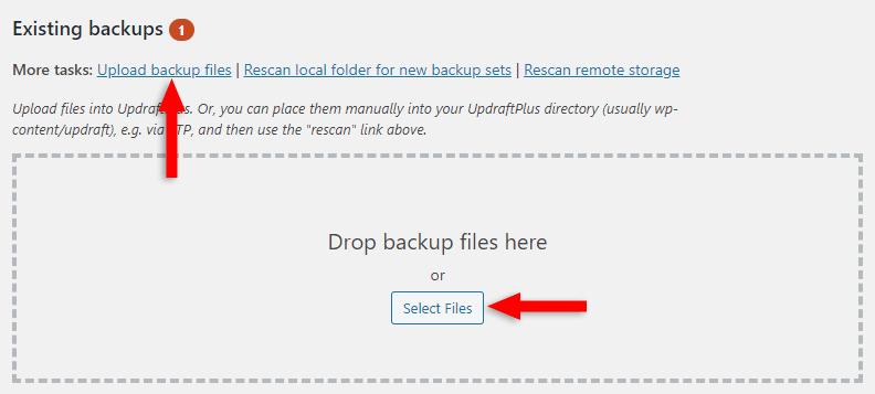 upload wordpress backup files to updraftplus