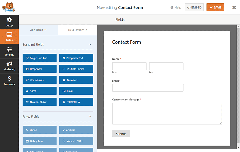 editing contact form in wpforms