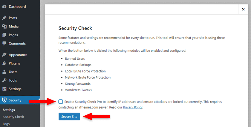 enable security check in ithemes security