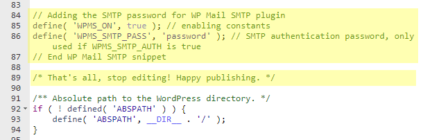 Adding the SMTP password from WP Mail SMTP to wp-config.php