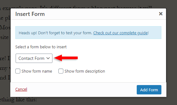 select wpforms contact form in classic editor