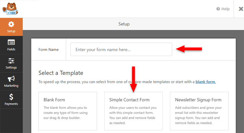simple contact form template in wpforms