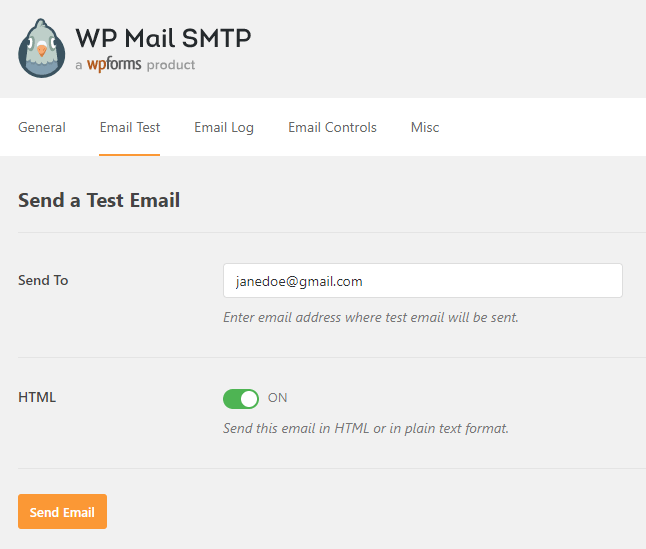 test email settings for wp mail smtp plugin