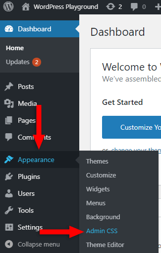 add admin css plugin's settings