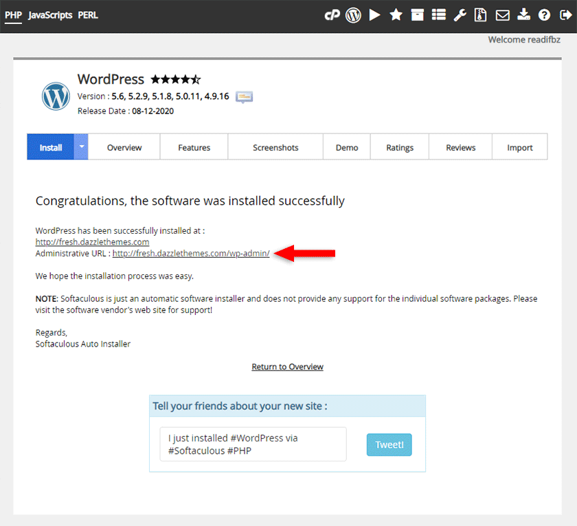 wordpress installation successful with softaculous