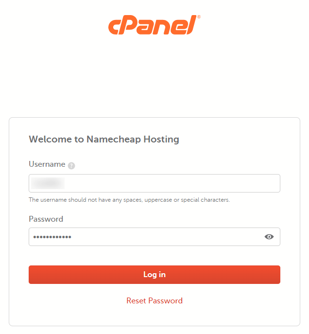 cpanel log in page