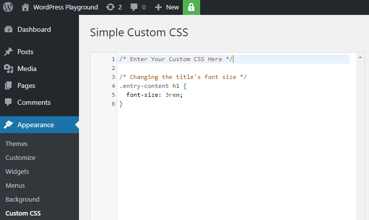 adding custom css in wordpress via the simple custom css plugin