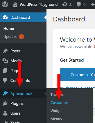 customize in wordpress