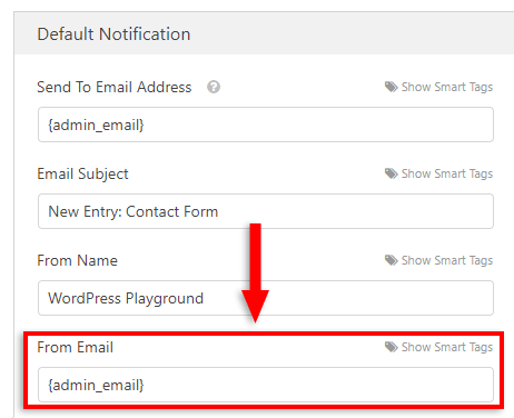 from email in wpforms