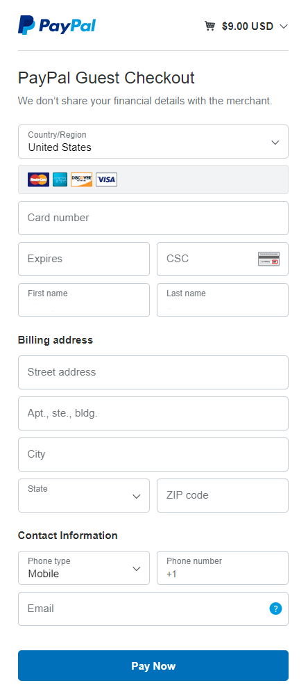 paypal guest checkout form