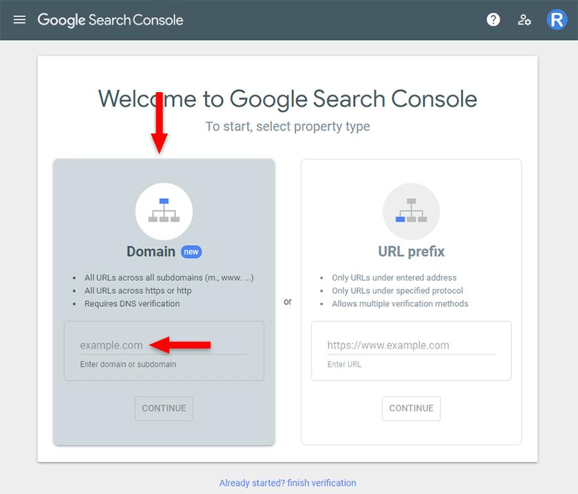 add domain in google search console