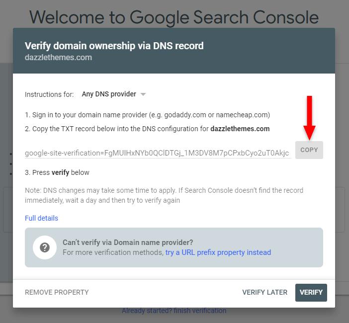 google search console dns record verification