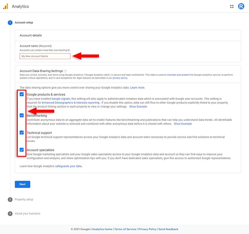 google analytics account name