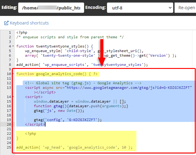 google analytics code in functions.php