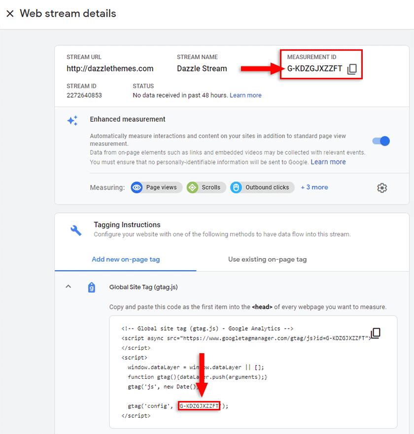 google analytics 4 measurement id
