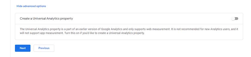 google analytics create a universal analytics property