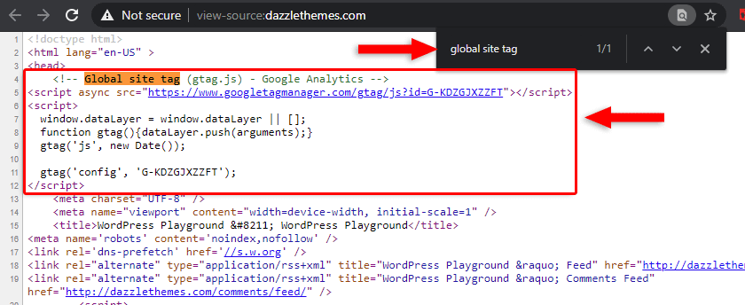 checking the google analytics code in the wordpress website's source code