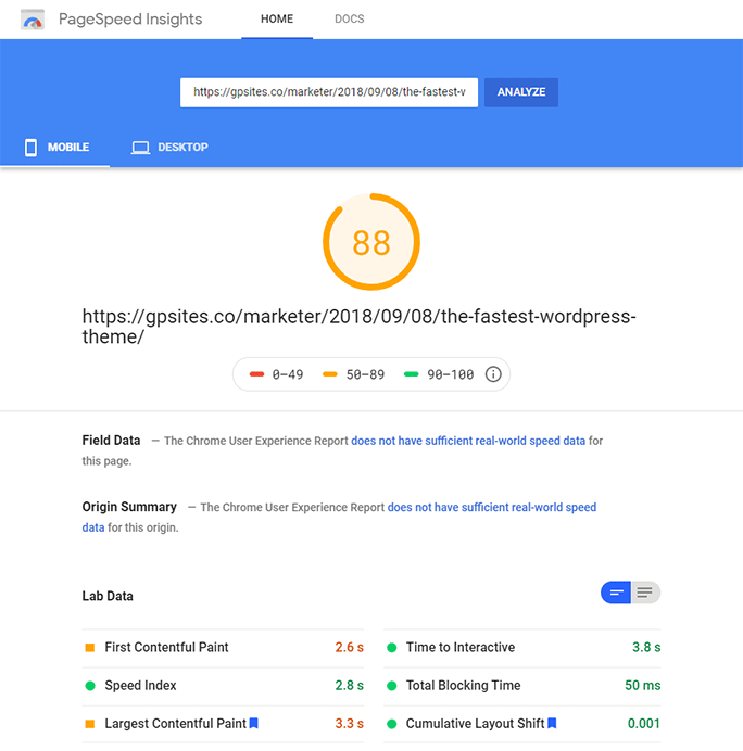 google page speed insights speed test