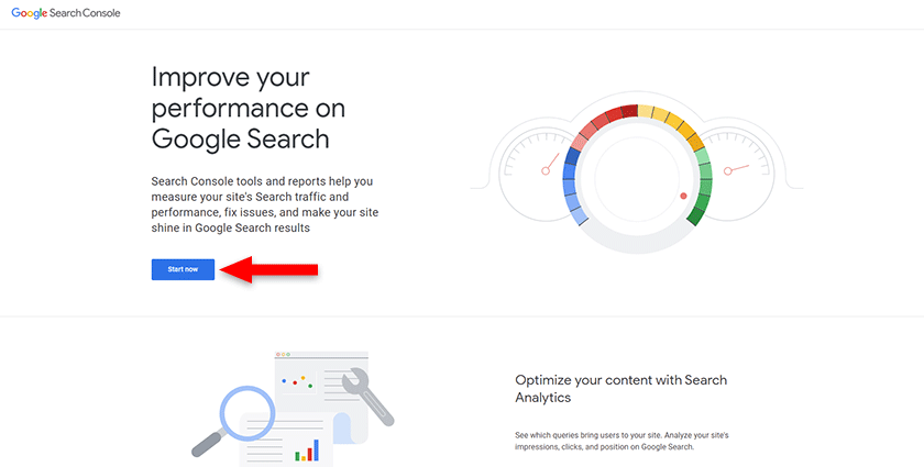 start a google search console account