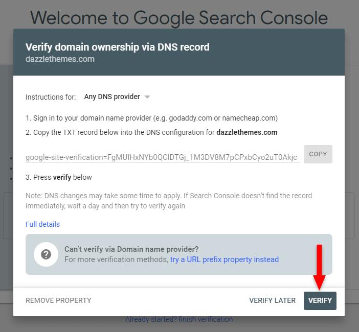 verify dns record in google search console