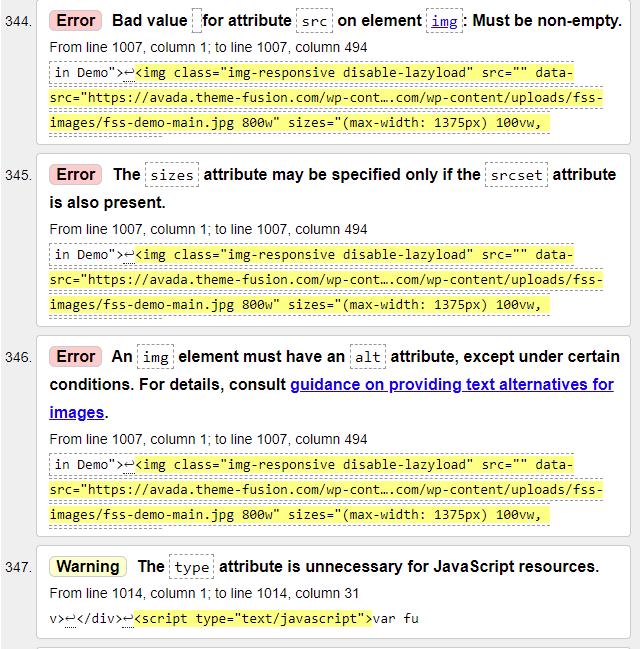 w3 validator warnings and errors