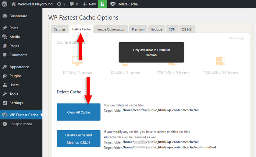clear all cache from wp fastest cache