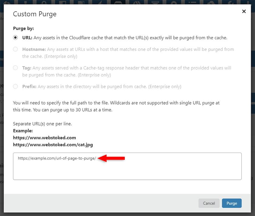 custom purge cloudflare