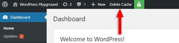 delete cache with wp super cache