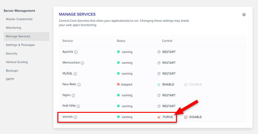 purge varnish cache in cloudways