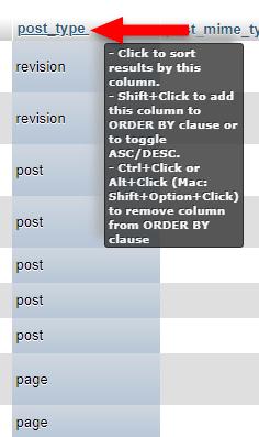 sort post_type column in phpmyadmin