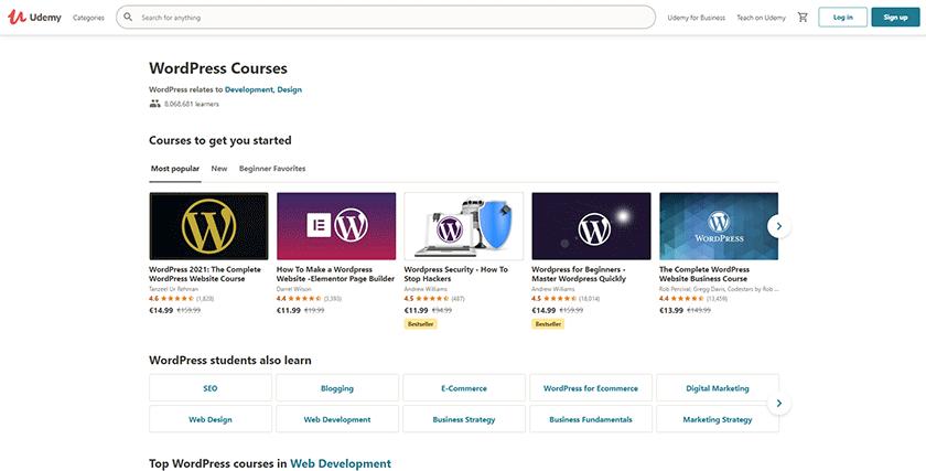 udemy wordpress development courses