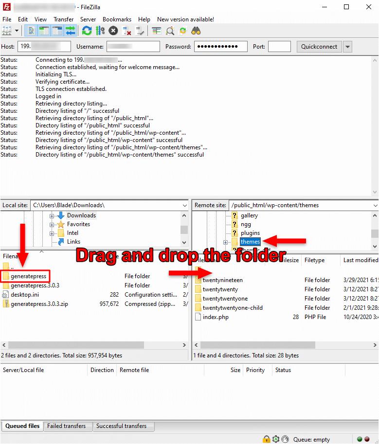 upload wordpress theme folder on ftp using filezilla
