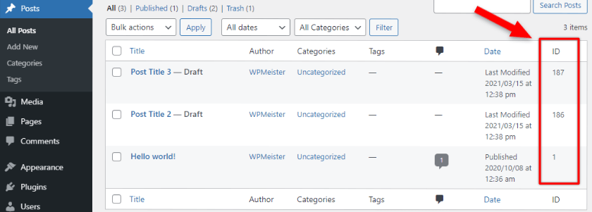 wordpress posts ids displayed with a plugin
