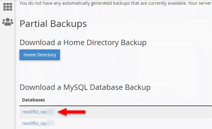 Download a WordPress MySQL Database Backup in cpanel