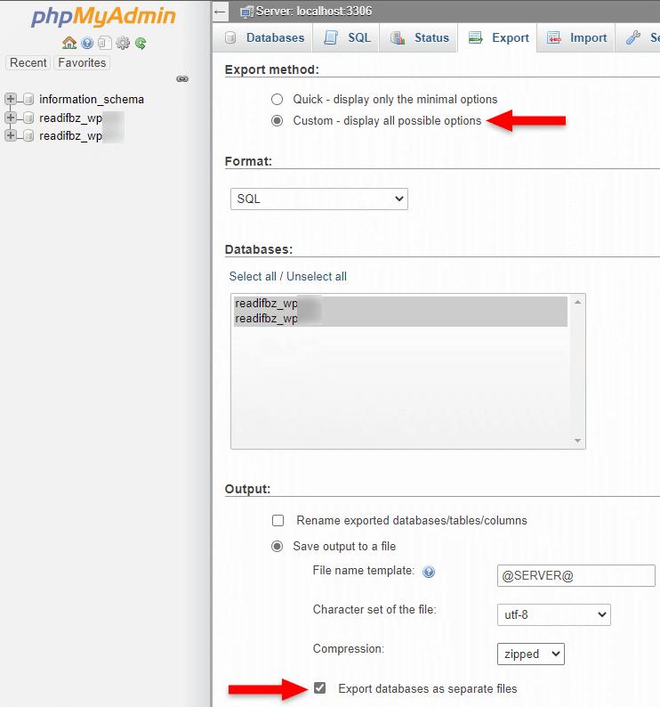 export wordpress databases as separate files in phpmyadmin
