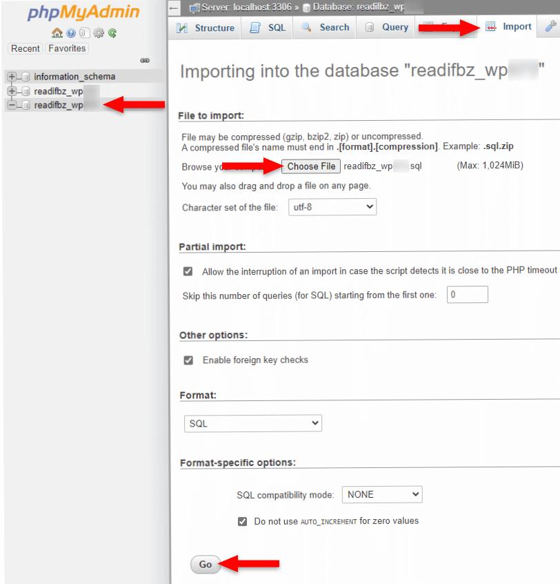 import wordpress database in phpmyadmin