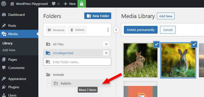 drag and drop images to the wordpress media library folder in grid mode