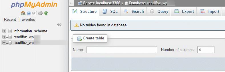 no tables in the wordpress database in phpmyadmin