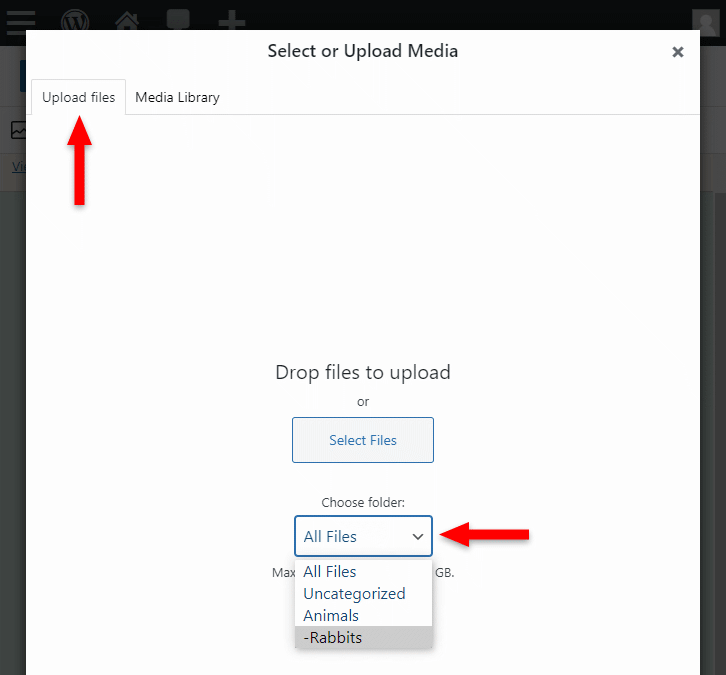 select folder when using image block in wordpress
