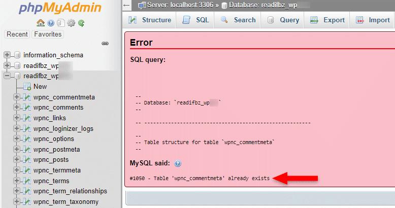 #1050 - Table already exists sql error in phpmyadmin