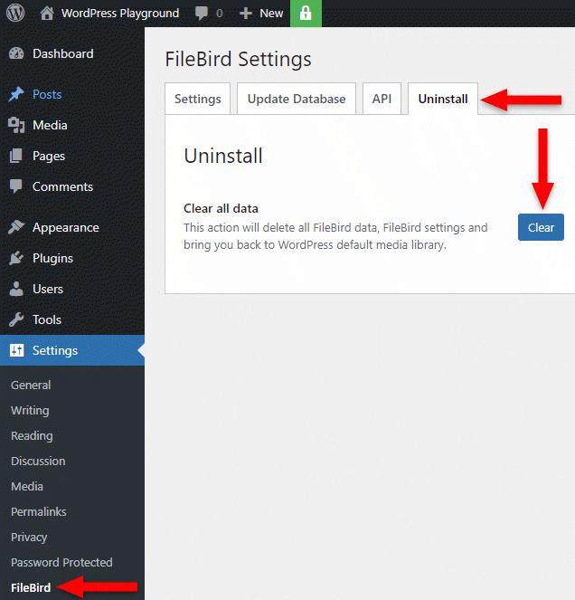 uninstall filebird plugin