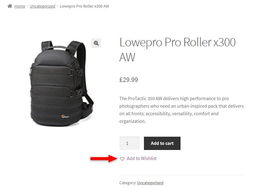 add to wishlist button in woocommerce single product page